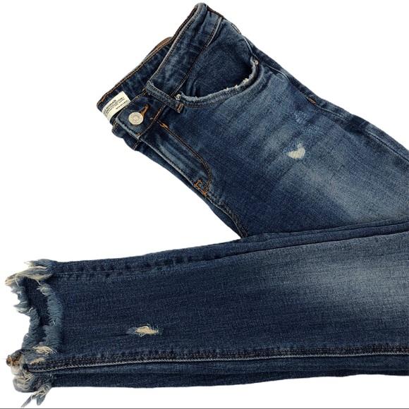 Zara Denim - Zara Woman Distressed High-Rise Cropped Jeans Sz 4